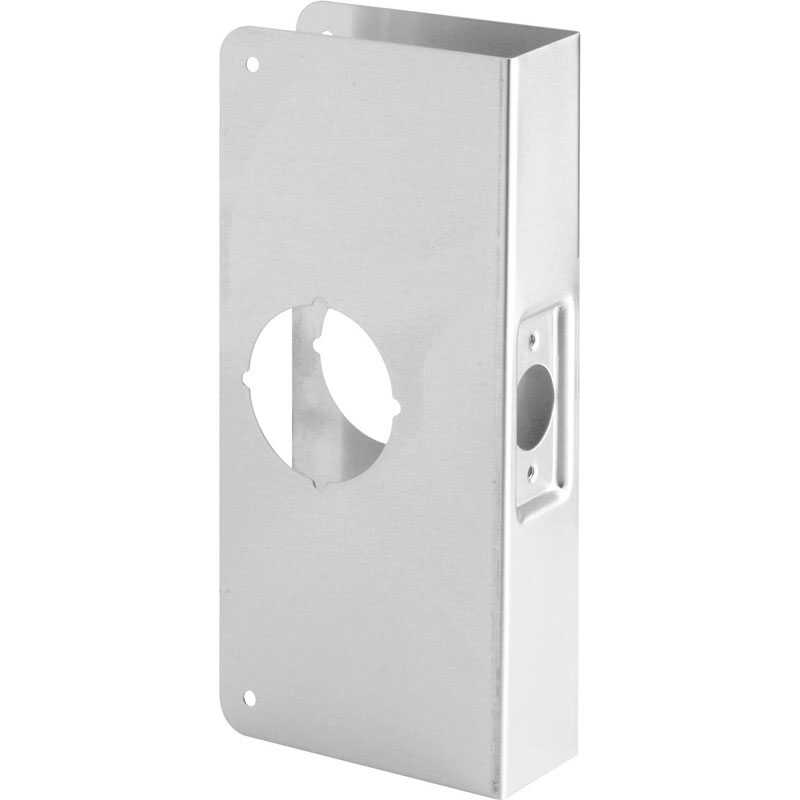 Prime-Line  9 in. H x 3.875 in. L Brass-Plated  Stainless Steel  Recessed Door Reinforcer