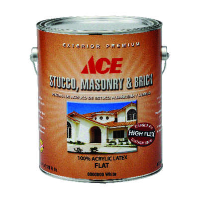 Ace  Flat  Tintable Base  Acrylic Latex  Stucco, Masonry and Brick Paint  Outdoor  1 gal.