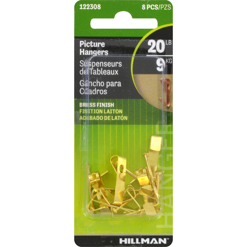 HILLMAN  AnchorWire  Brass-Plated  Steel  Picture Hanger  20 lb. 8 pk Conventional