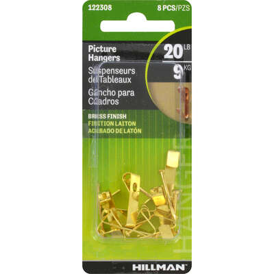 Hillman  AnchorWire  Brass-Plated  Gold  Conventional  Picture Hanger  20 lb. 8 pk