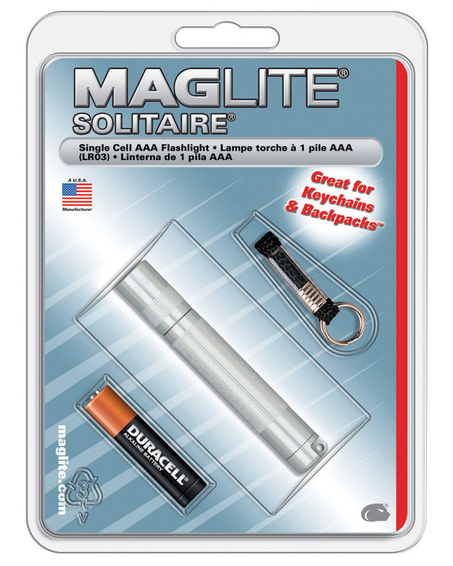 Maglite  Solitaire  2 lumens Silver  Incandescent  Flashlight With Key Ring  AAA