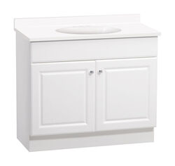 Continental Cabinets  Single  Satin  White  Vanity Combo  36 in. W x 18 in. D x 32 in. H