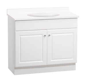 Continental Cabinets Single Bright White Vanity Combo 32 In H X 36 W