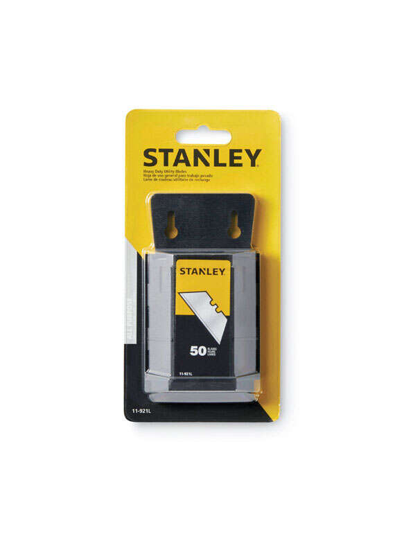 Stanley  2-7/16 in. L x 0.024 in.  Heavy Duty  Blade Dispenser with Blades  Steel  50 pk