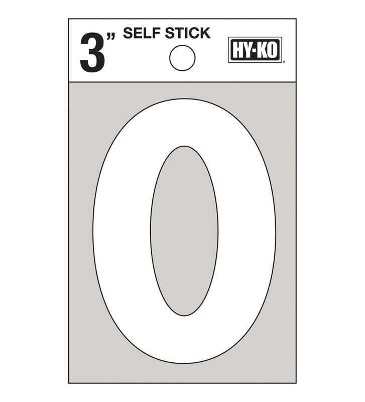 Hy-Ko  3 in. White  Vinyl  Number  0  Self-Adhesive  1 pc.