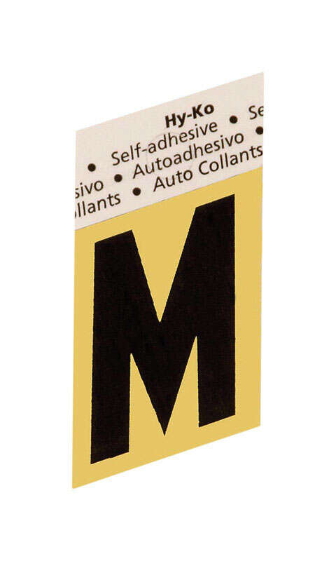 Hy-Ko  1-1/2 in. Black  Aluminum  Self-Adhesive  Letter  M  1 pc.