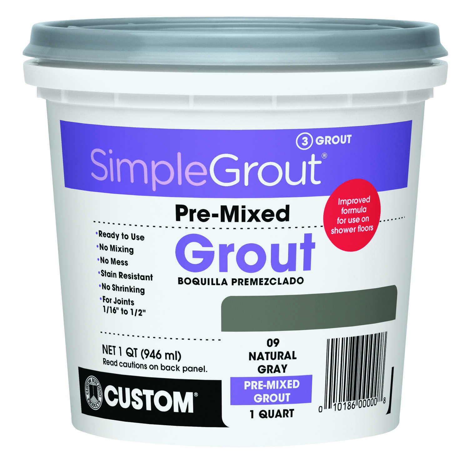 Custom Building Products  SimpleGrout  Indoor  Natural Gray  Grout  1 qt.