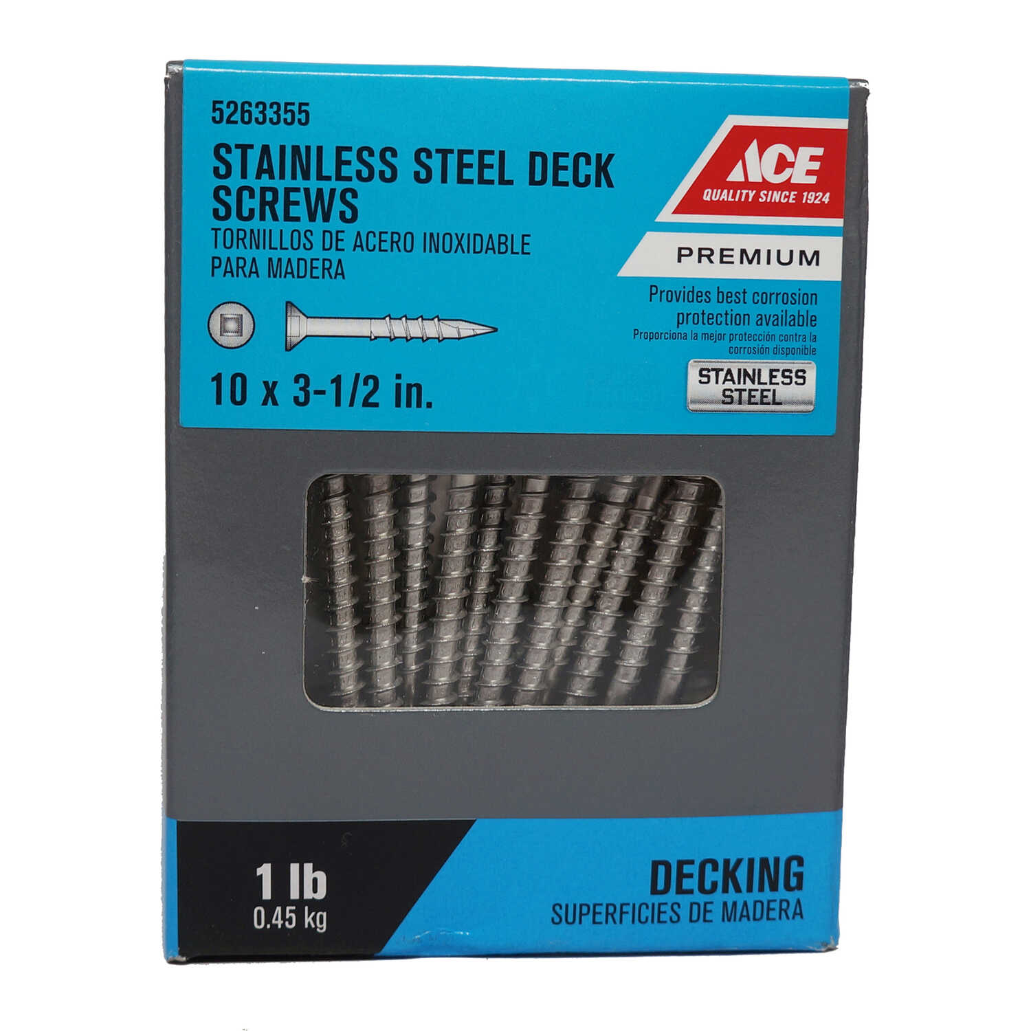 Ace  No. 10   x 3-1/2 in. L Square  Stainless Steel  Deck Screws  1 lb. 60 pk Flat Head