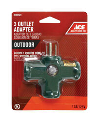 Ace  Grounded  3 outlets Adapter  1 pk