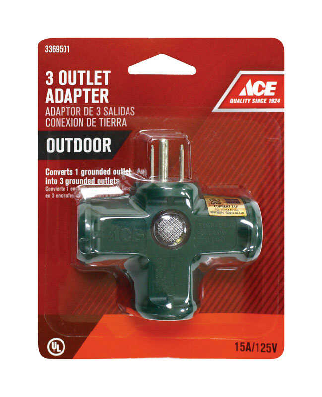 Ace  Grounded  3  1 pk Triple Outlet Adapter  Surge Protection