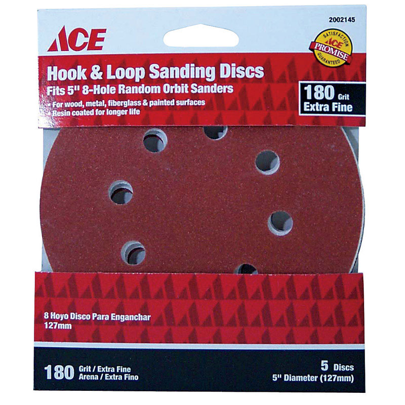 Ace  5 in. Aluminum Oxide  Hook and Loop  180 Grit Extra Fine  5 pk Sanding Disc