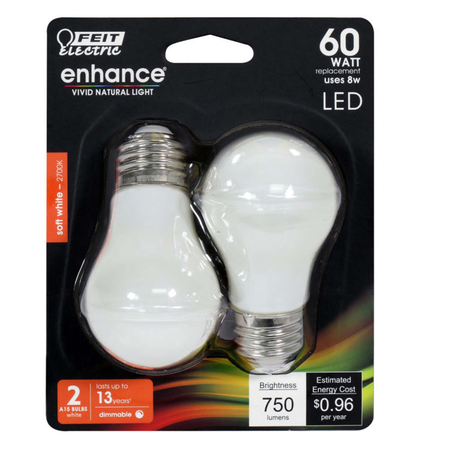 FEIT Electric  Enhance  A15  E26 (Medium)  Filament LED Bulb  Soft White  60 Watt Equivalence 2 pk