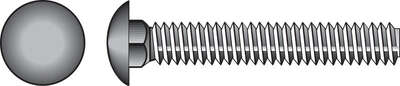 HILLMAN  1/4 in. Dia. x 4-1/2 in. L Zinc-Plated  Steel  Carriage Bolt  100 pk