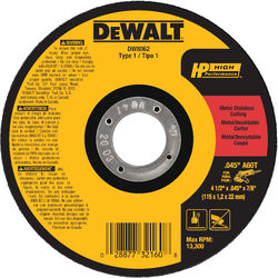 DeWalt 4-1/2 in. Dia. x 7/8 in. Aluminum Oxide Metal Cut-Off Wheel 1 pc.