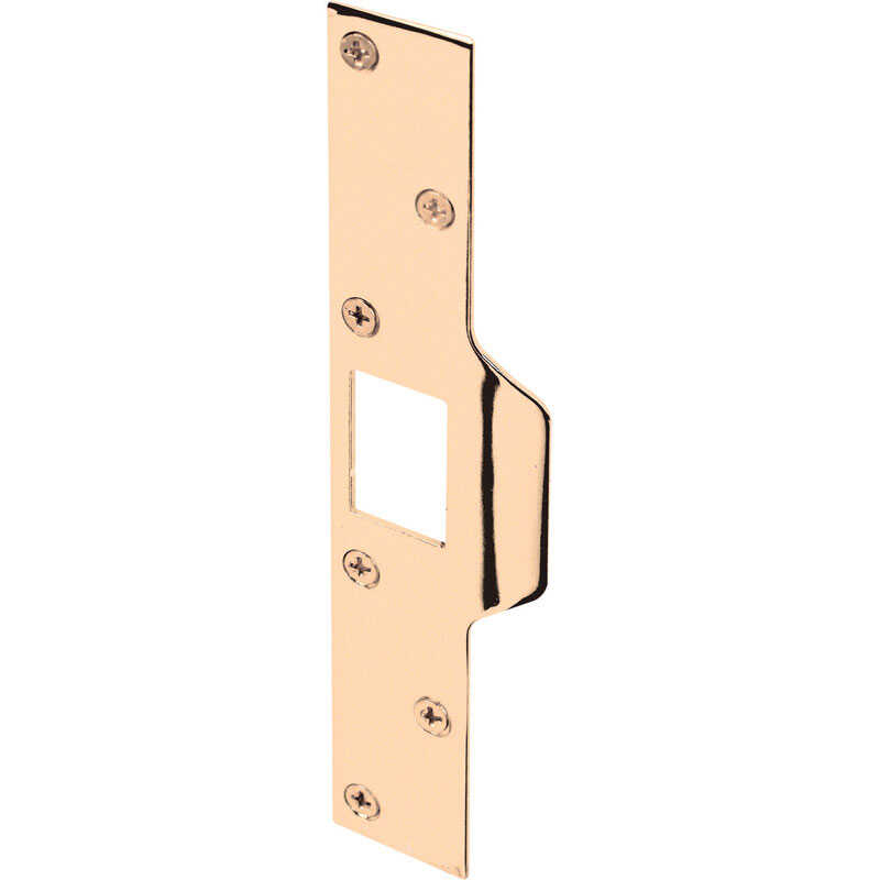 Prime-Line  8 in. H x 1.25 in. L Brass-Plated  Steel  Maximum Security Deadlatch Strike