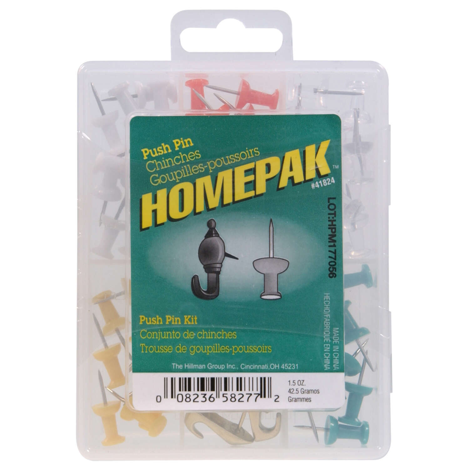 Homepak  Assorted  Push Pins  100 pk