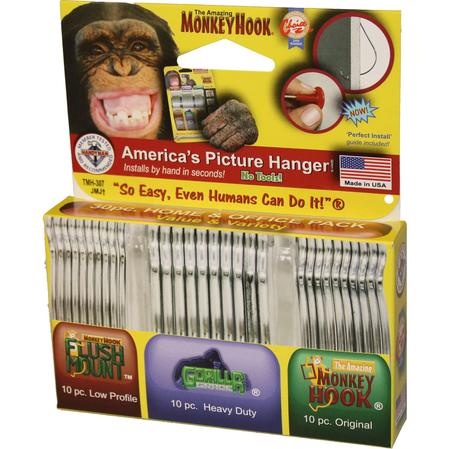 Monkey Hook  Value & Variety Pack  Galvanized  Silver  Monkey  Picture Hanging Set  40 lb. 30 set