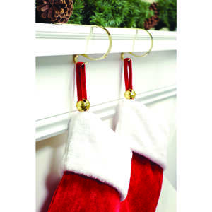 Haute Decor  Jingle Bells  Stocking Adjuster  Metal  Gold  4 pk