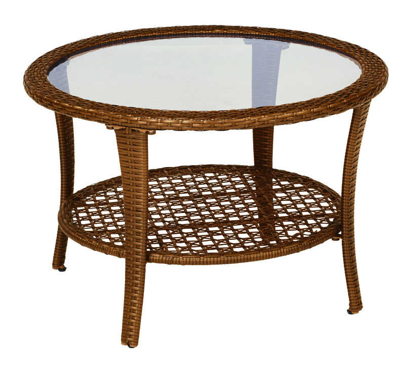 Living Accents  Brown  Berkley  Round  Glass  Coffee Table
