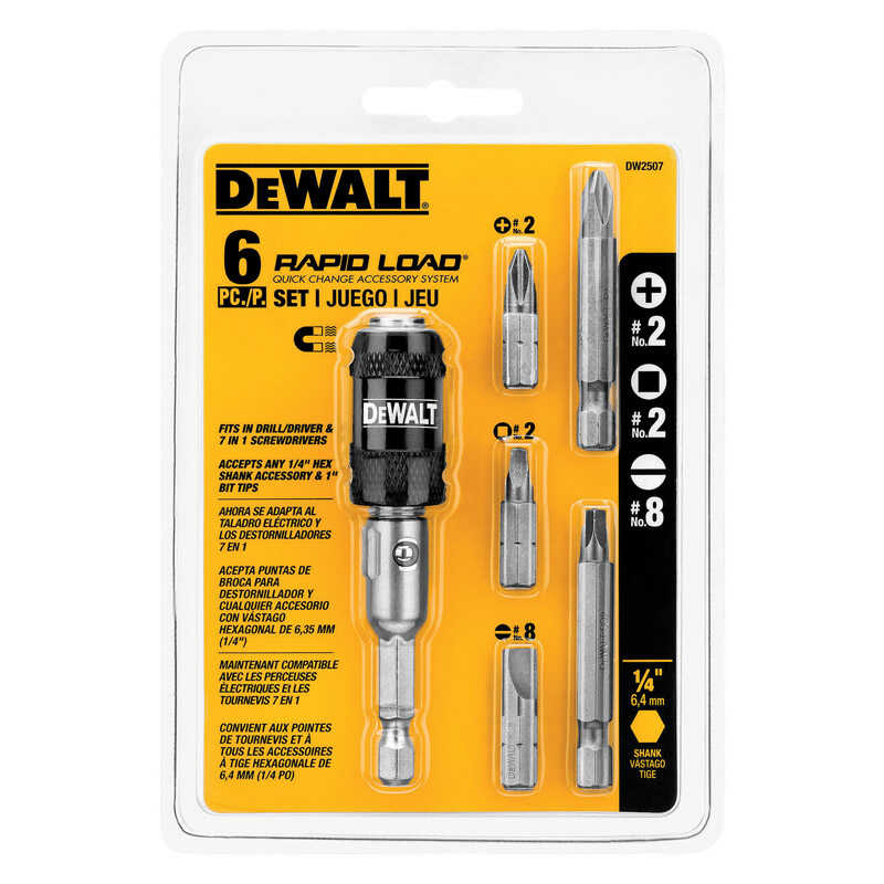 DeWalt  Multi Size in.  x 2 in. L Screwdriver Bit  Heat-Treated Steel  1/4 in. 6 pc.