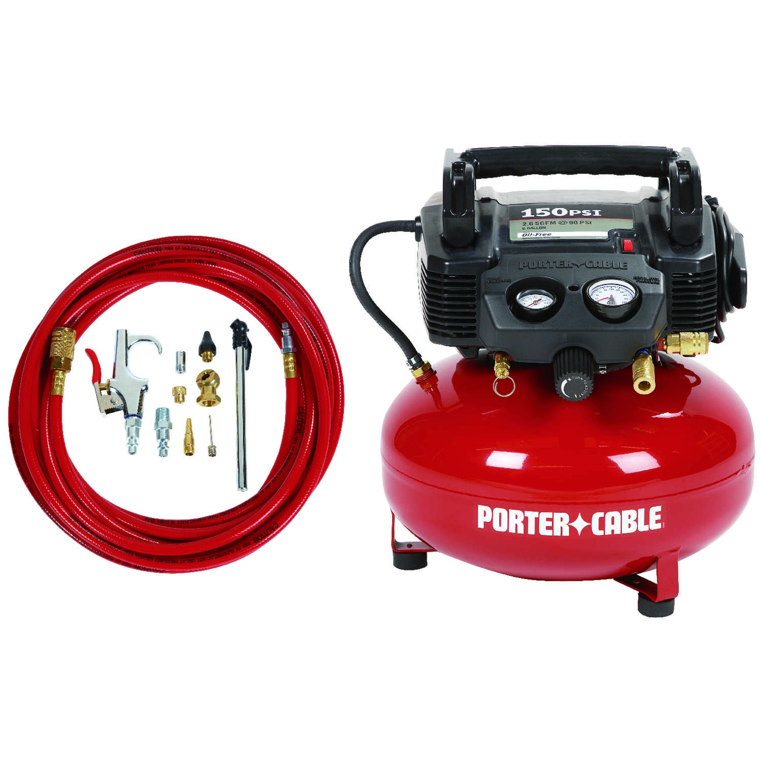 Porter Cable  6 gal. Pancake  Portable Air Compressor Kit  150 psi 0.8 hp