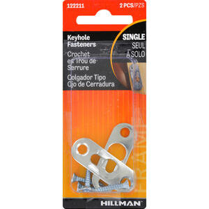 Hillman  AnchorWire  Steel-Plated  Gold  Keyhole  Picture Hanger  20 lb. 2 pk