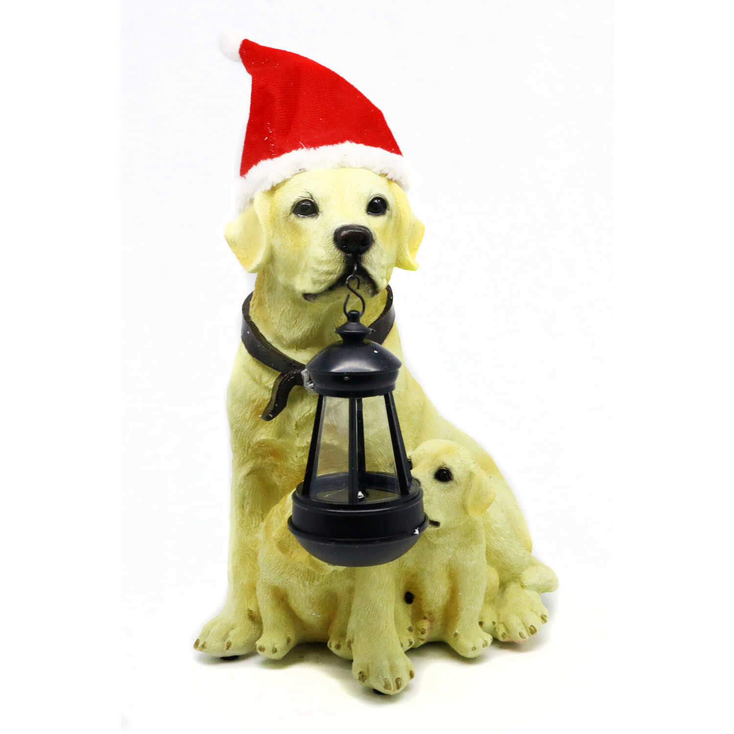 Alpine  Golden Dog and Puppy with Lantern Statue  Christmas Decoration  Tan  Resin  1 each