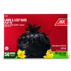 Ace  39 gal. Lawn and Leaf Bags  Flap Tie  50 pk