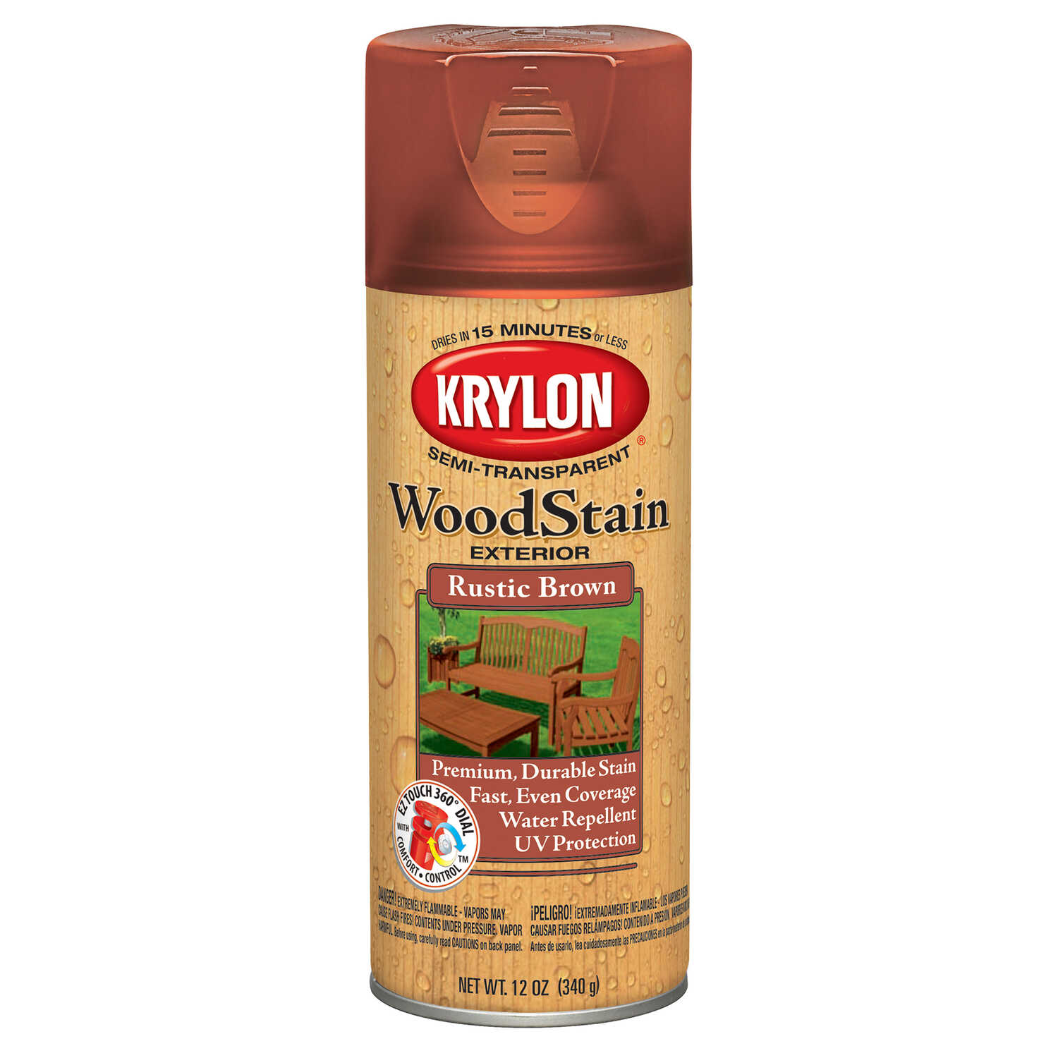 Krylon  Semi-Transparent  Smooth  Rustic Brown  Oil-Based  Oil  Wood Stain  12 oz.