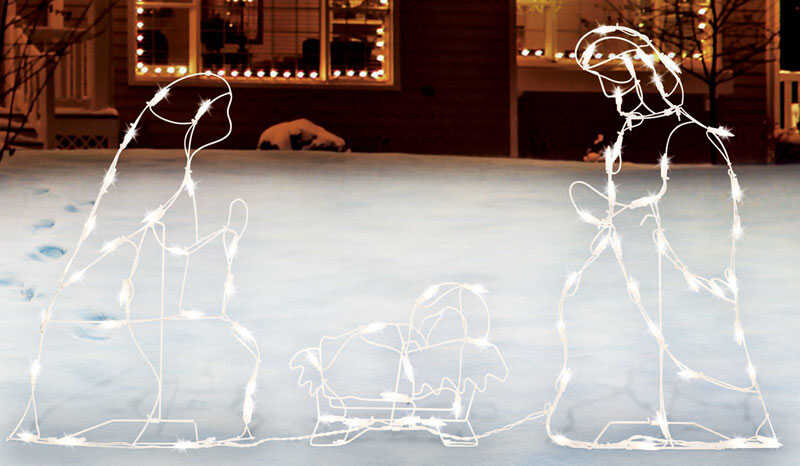 Sienna  Lighted Holy Family  Christmas Decoration  Metal  1 set White