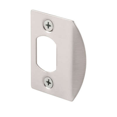 Prime-Line 2-1/4 in. H x 1-5/8 in. L Satin Nickel Steel Latch Strike Plate