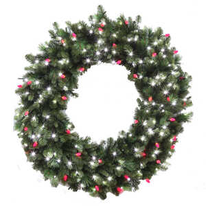 celebrations prelit led decorated wreath 48 in l pure whitered green