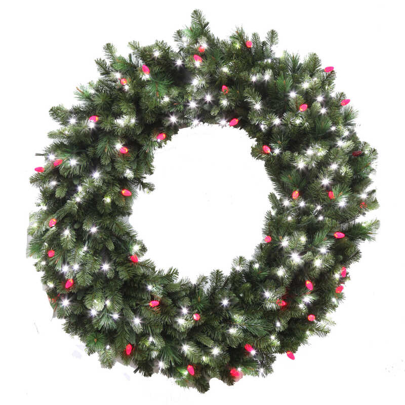 Celebrations  Prelit Green  LED Decorated Wreath  48 in. L Pure White/Red