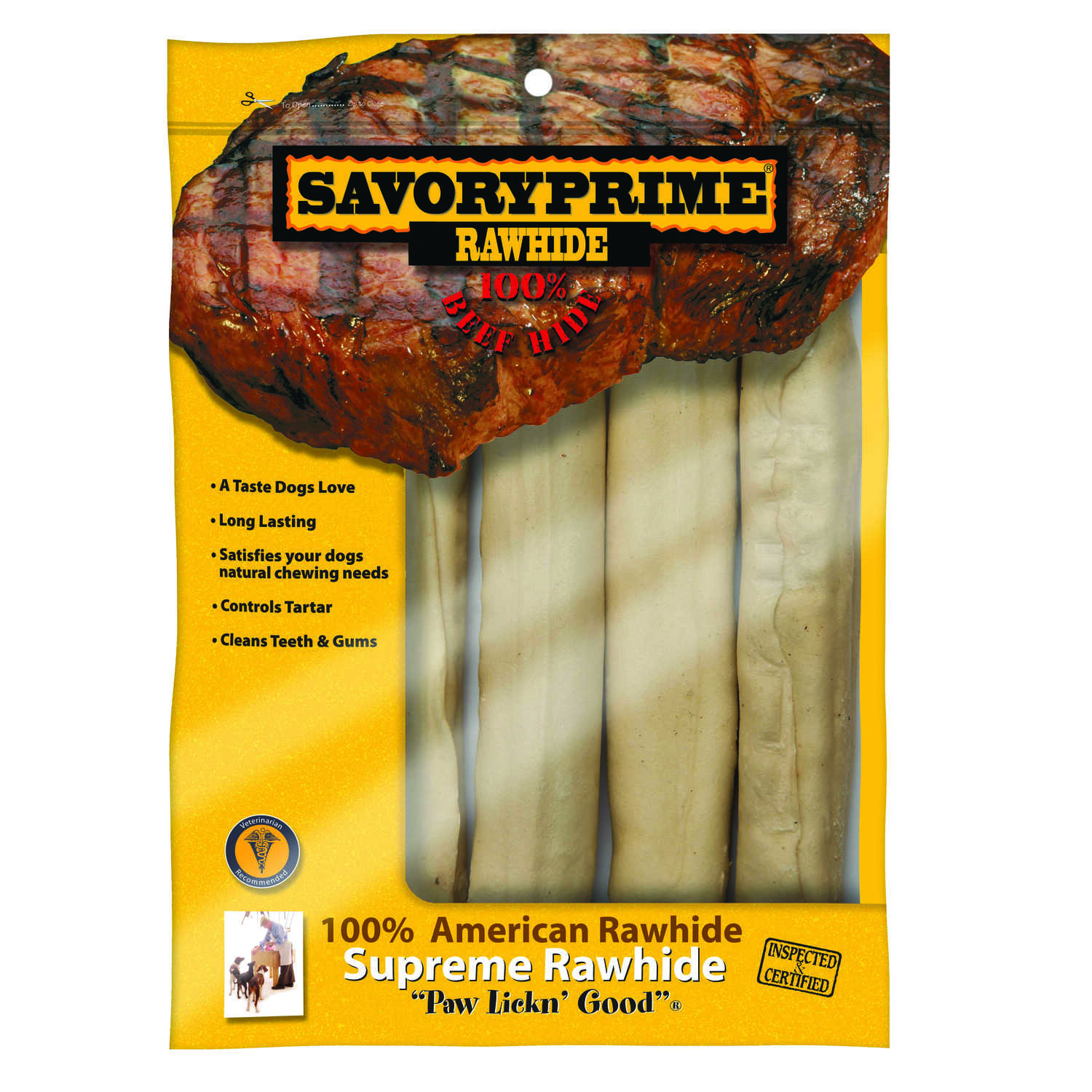 Savory Prime  Large  Adult  Rawhide Bone  Natural  10 in. L 4 pk