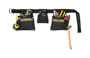 CLC  11 pocket Polyester Fabric  Carpenters Pouch  19 in. L x 8 in. H Black  29 in. to 46 in.