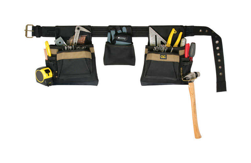 CLC Work Gear  11 pocket Polyester Fabric  Carpenters Pouch  8 in. H x 19 in. L Black  29 in. 46 in.
