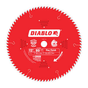 Freud  Diablo  12 in. Dia. x 1 in.  x 0.087 in.  Carbide Tip Titanium  Diablo  Finishing Saw Blade