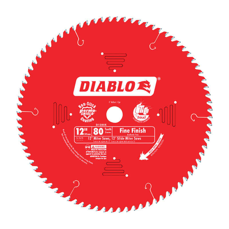 Diablo  12 in. Dia. x 1 in.  x 0.087 in.  Carbide Tip Titanium  Finishing Saw Blade  80 teeth 1 pk
