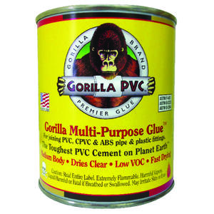 Gorilla PVC  Multi  Clear  Multi-Purpose Solvent Cement  For PVC / CPVC / ABS 32 oz.