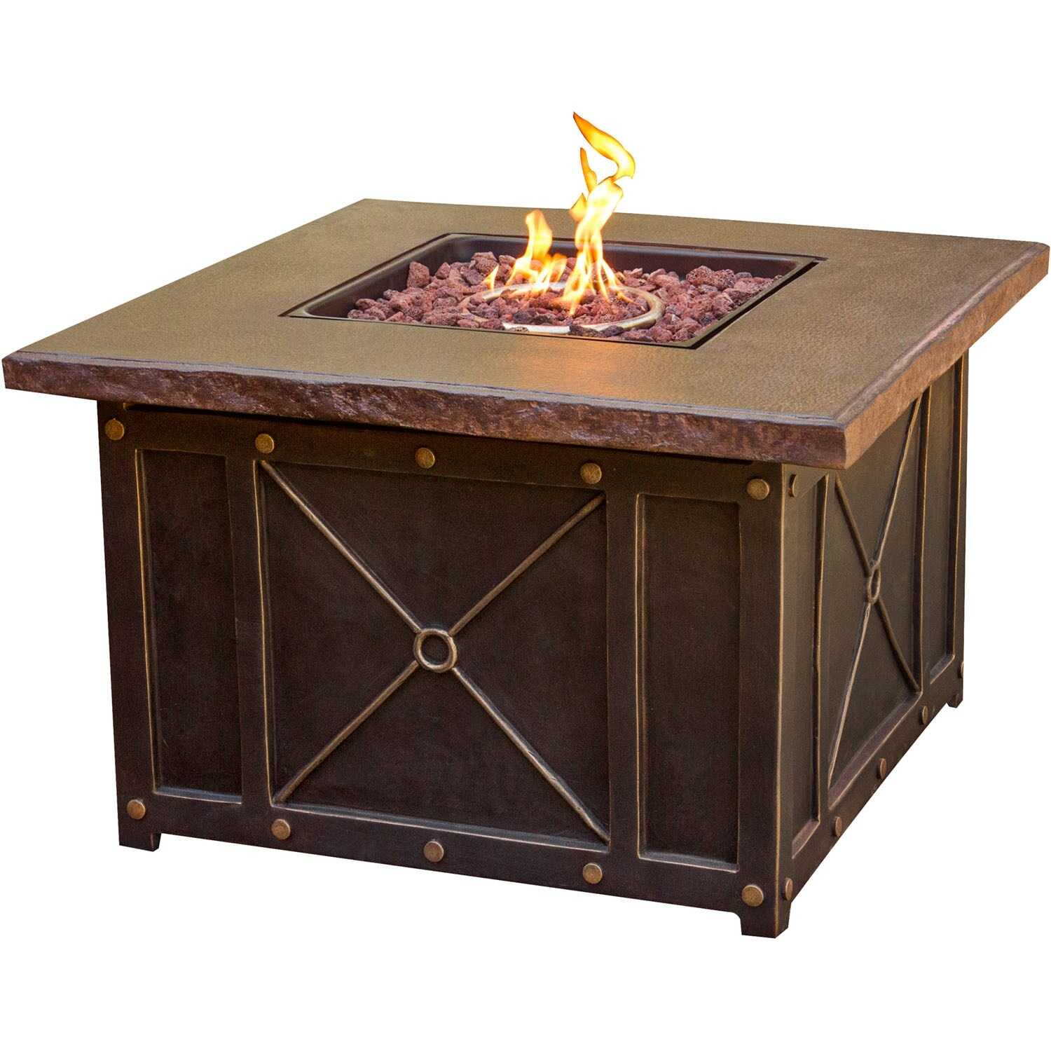 Hanover  5 pc. Brown  Steel  Firepit Set  Tan