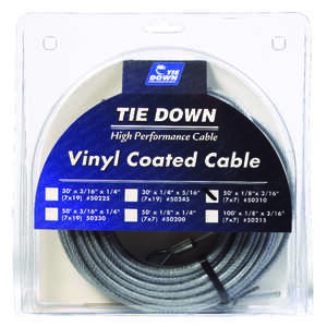 Tie Down Engineering  Vinyl Coated  Galvanized Steel  1/8 in. Dia. x 50 ft. L Aircraft Cable