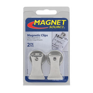 Master Magnetics  1.8 in. Ceramic  Clip  Magnetic Clips  3 lb. pull 3.4 MGOe Silver  2 pc.