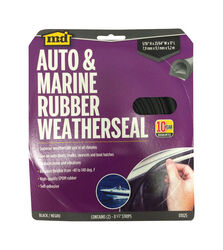 M-D Black Rubber Weatherstrip For Auto and Marine 17 ft. L x 5/16 in.