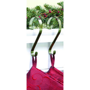 Haute Decor  Scroll  Stocking Holder  Antique Bronze  2 pk Metal