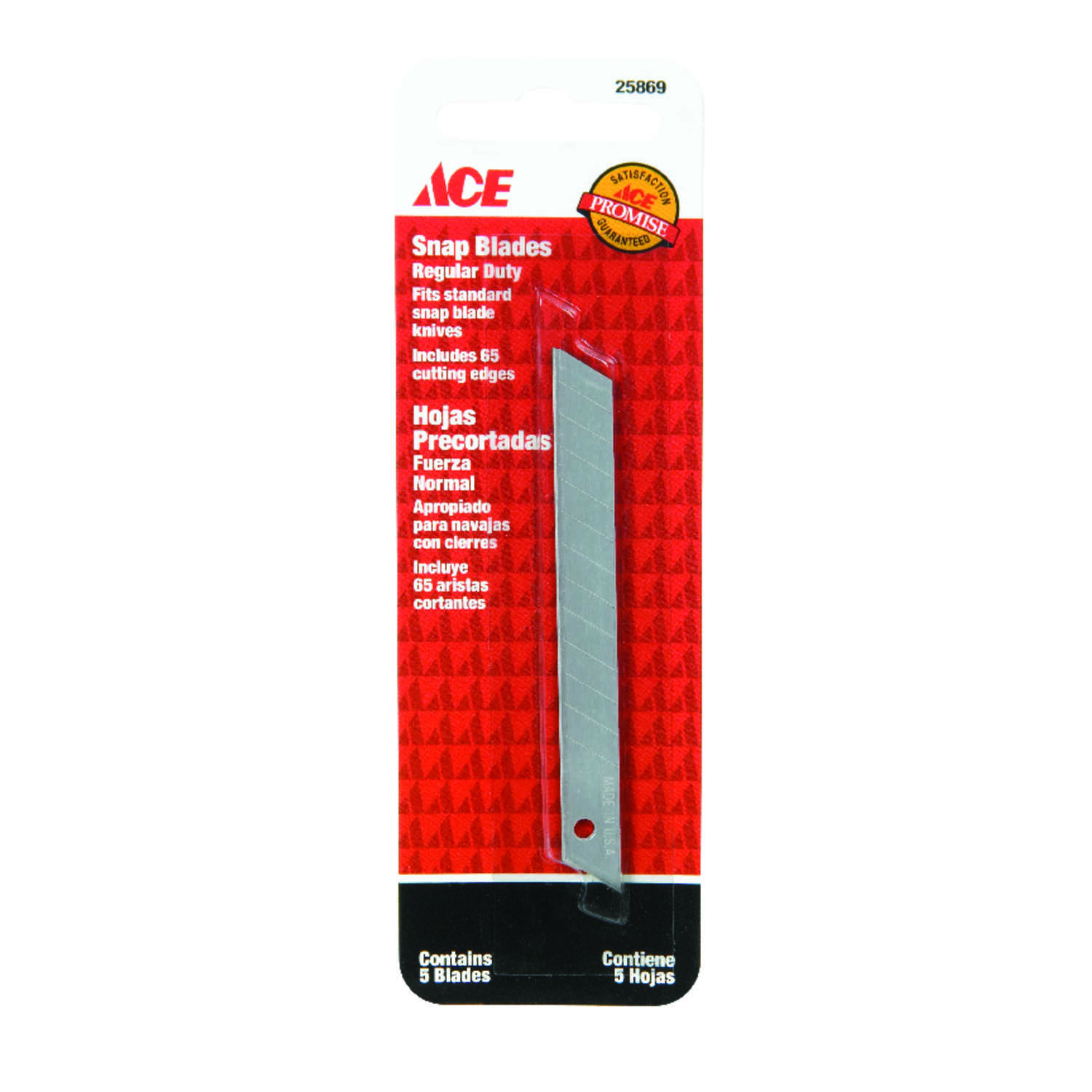 Ace  0.02 in.  Carbon Steel  Replacement Blade  5 pk Regular Duty