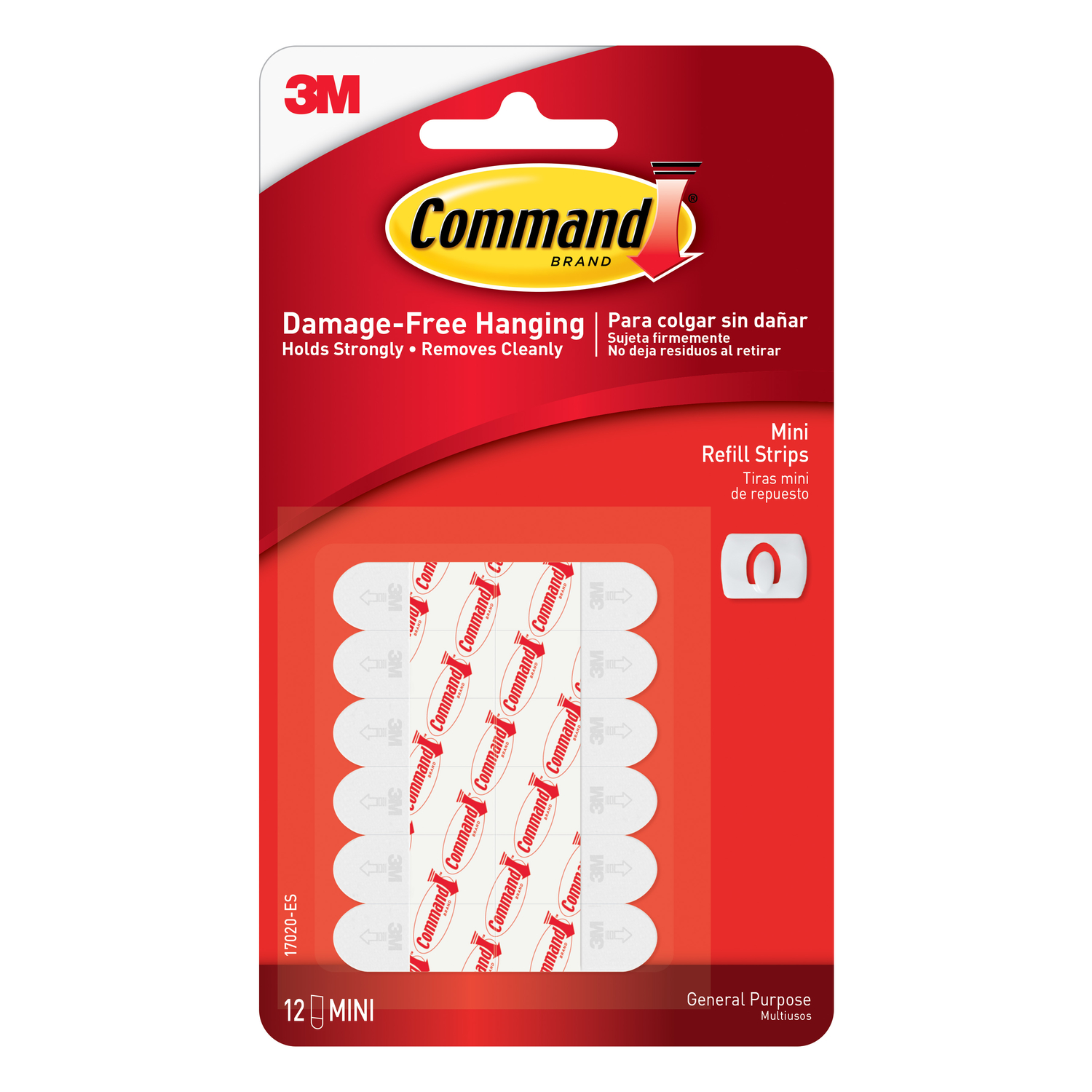 3M  Command  Mini  Adhesive Strips  .5 in. L 12 pk Foam