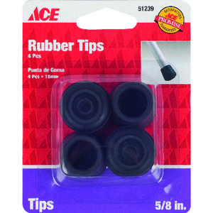 Ace  Rubber  Leg Tip  Black  Round  5/8 in. W 4 pk