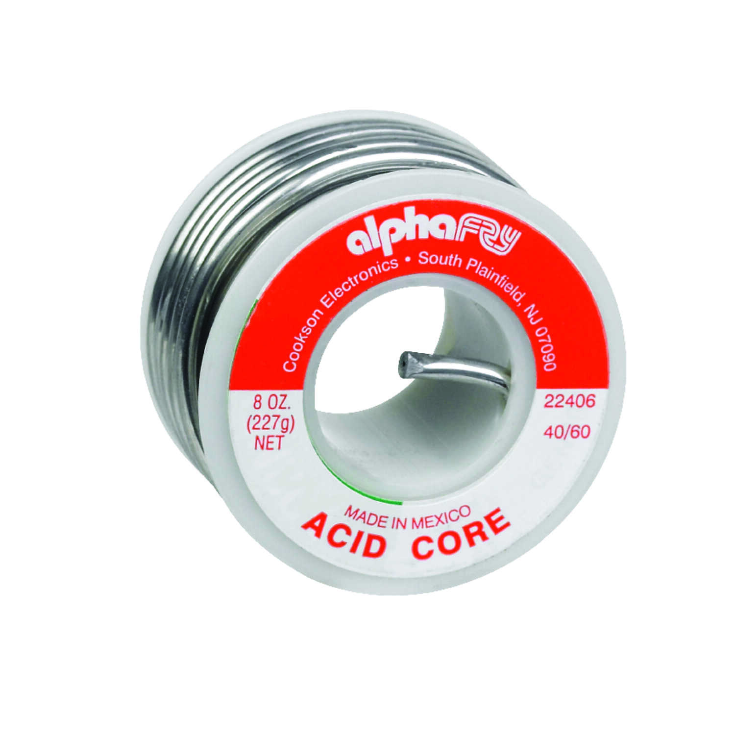 Alpha Fry  8 oz. Acid Core Solder  0.125 in. Dia. Tin / Lead  40/60