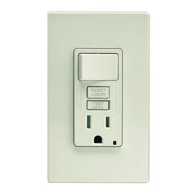 Leviton  SmartlockPro  15 amps 125 volt Light Almond  GFCI Outlet  5-15R  1 pk