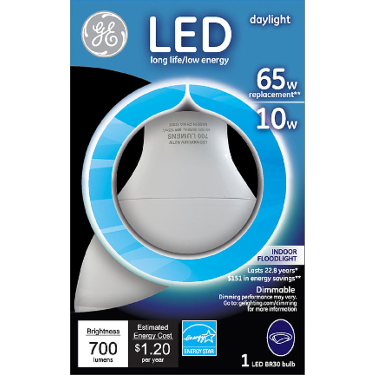 GE BR30 E26 (Medium) LED Bulb Daylight 65 Watt Equivalence 1 pk